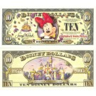 "2005 ""T"" $10 UNC Disney Dollar - Minnie front with Disneyland Sleeping Beauty's Castle on back - ""T"" 50th Anniversary Series from Disney Store ~ © DIZDOLLARS.com"