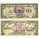 "2005 ""D"" $10 UNC 5 Digit Disney Dollar - Stitch front with Disneyland Sleeping Beauty's Castle WITHOUT barcode on back - ""D"" 50th Anniversary Series from Disney World ~ © DIZDOLLARS.com"