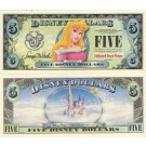 "2007 ""D"" $5 UNC Disney Dollar - 2007 Aurora (Sleeping Beauty) front with Disneyland Sleeping Beauty's Castle on back - ""D"" 20th Anniversary Disney Dollar Series from Disney World ~ © DIZDOLLARS.com"
