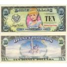 "2007 ""D"" $10 UNC Disney Dollar - 2007 Cinderella front with Disneyland Sleeping Beauty's Castle on back - ""D"" 20th Anniversary Disney Dollar Series from Disney World ~ © DIZDOLLARS.com"
