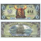 "2007 ""EF"" $1 UNC 5 Digit 3 Consecutive Disney Dollars - ""Pirates of the Caribbean: Dead Man's Chest"" front with The Flying Dutchman Ship on back (2nd Film Released)  - ""EF"" 20th Anniversary Disney Dollar Series from Disneyland ~ © DIZDOLLARS.com"