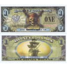 "2007 ""EB"" $1 UNC 5 Digit 2 Consecutive Disney Dollars - ""Pirates of the Caribbean: The Curse of The Black Pearl"" front with The Black Pearl Ship on back  - ""E"" 20th Anniversary Disney Dollar Series from Disneyland ~ © DIZDOLLARS.com"