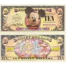 "2008 ""A"" $10 UNC Disney Dollar - Boyer's Bobble Head Mickey Front Boyer's Mickey through the years back - ""A"" Mickey Mouse's 80th Anniversary Series from Disneyland ~ © DIZDOLLARS.com"