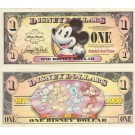 "2008 ""T"" $1 MINT UNC Disney Dollar - Boyer's Pie-Eyed Mickey Front Boyer's Mickey through the years back - ""T"" Mickey Mouse's 80th Anniversary Series from Disney Store ~ © DIZDOLLARS.com"