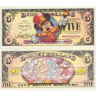 "2008 ""A"" $5 UNC Disney Dollar - Boyer's Band Leader Mickey Front Boyer's Mickey through the years back - ""A"" Mickey Mouse's 80th Anniversary Series from Disneyland ~ © DIZDOLLARS.com"