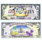 "2009 ""D"" $10 MINT UNC 5 DIGIT Disney Dollar - Mickey, Donald and Goofy with Cake front with Cinderella's Castle in Clouds on back - Celebrate You series from Disney World ~ © DizDollars.com"