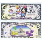 "2009 ""T"" $5 UNC Disney Dollar - Daisy Duck and Minnie Mouse front with Cinderella's Castle in Clouds on back - Celebrate You series from Disney Store ~ © DizDollars.com"