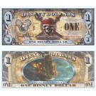 "2011 ""F"" $1 MINT UNC 5 Digit Disney Dollars - ""Pirates of the Caribbean: On Stranger Tides"" front with Queen Anne's Revenge Ship on back (4th Film Released)  - ""F"" Pirates of the Caribbean Series from Disney World ~ © DIZDOLLARS.com"