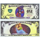 $1 MINT UNC 5 DIGIT Disney Dollar - Captain Hook front with Peter Pan and Wendy on the back - Villains & Heroes series from Disney World ~ © DizDollars.com