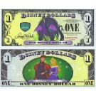 "2013 ""D"" $1 MINT UNC 5 DIGIT Disney Dollar - Maleficent front with Sleeping Beauty Aurora and Prince on back - Villains & Heroes series from Disney World ~ © DizDollars.com"