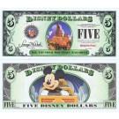 "2014 ""D"" $5 MINT UNC 5 Digit Disney Dollars - Big Thunder Mountain Attraction front with Mickey Mouse on the ride on back - ""D"" Mountain Rides the Final Disney Dollars series from Disney World ~ © DIZDOLLARS.com"
