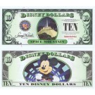 "2014 ""D"" $10 MINT UNC 5 Digit Disney Dollars - Space Mountain Attraction front with Mickey Mouse on the ride on back - ""D"" Mountain Rides the Final Disney Dollars series from Disney World ~ © DIZDOLLARS.com"