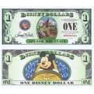 "2014 ""D"" $1 MINT UNC 4 Digit RARE Disney Dollars - Splash Mountain Attraction front with Mickey Mouse on the ride on back - ""D"" Mountain Rides the Final Disney Dollars series from Disney World ~ © DIZDOLLARS.com"