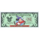 "Front - 1997 ""A"" $1 VF S/N A01855574A Disney Dollar - Sorcerer Mickey front with Cinderella's Coach on back - Time to Remember the Magic 25th anniversary Walt Disney World Series from Disneyland ~ © DizDollars.com"