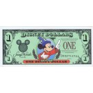 "Front - 1997 ""D"" $1 EF/XF S/N D00271570A Disney Dollar - Sorcerer Mickey front with Cinderella's Coach on back - Time to Remember the Magic 25th anniversary Walt Disney World Series from Disney World ~ © DizDollars.com"