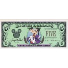 "Front Scan 1997 ""A"" $5 AU Mark on Face S/N A00145841A Disney Dollar - Top Hat Goofy front with Lights and Fireworks on back - Time to Remember the Magic 25th anniversary Walt Disney World Series from Disney World  ~ © DizDollars.com"